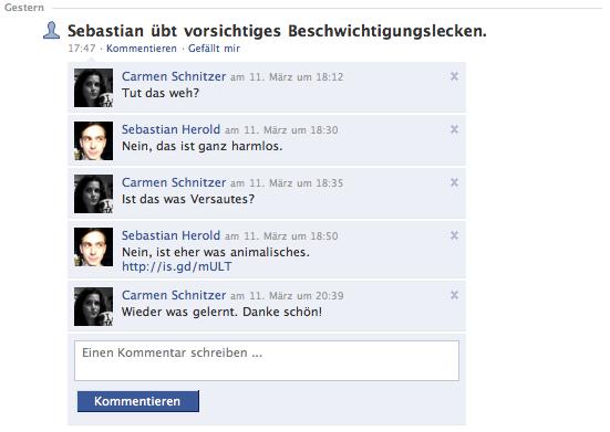 Facebook-Dialog mit Carmen (Erklärung? Klick auf das Bild)