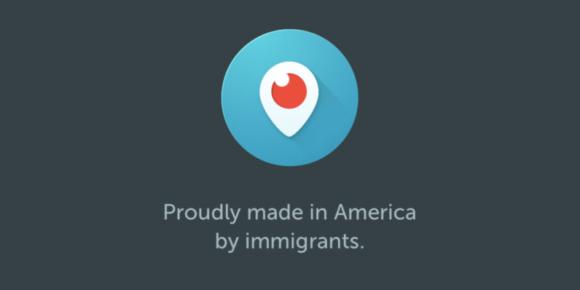 Periscopes Startbildschirm, Seitenhieb auf Trumps Einwanderungspolitik
